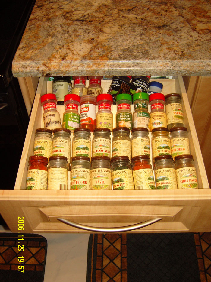 This is a top drawer spice rack built in & Cabinet Construction Design u0026 Restoration Services | International ...